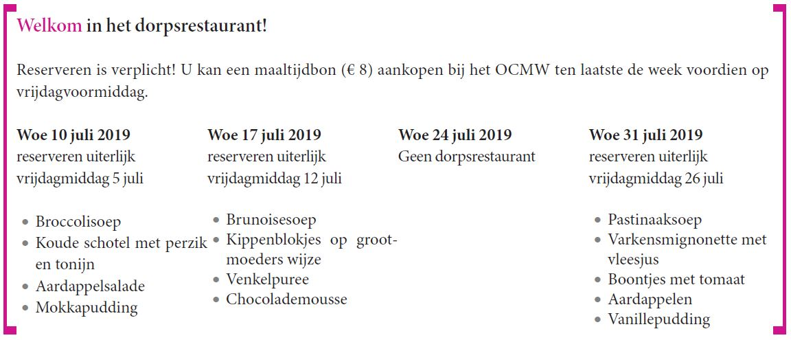 Menu dorpsrestaurant juli 2019